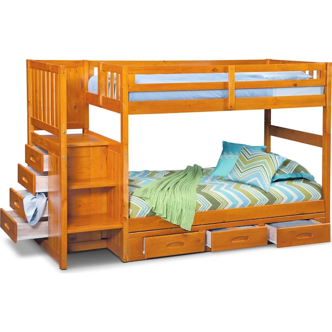 the best attitude 56be1 f4c19 Ranger Twin over Twin Bunk Bed with Storage Stairs & Underbed Drawers