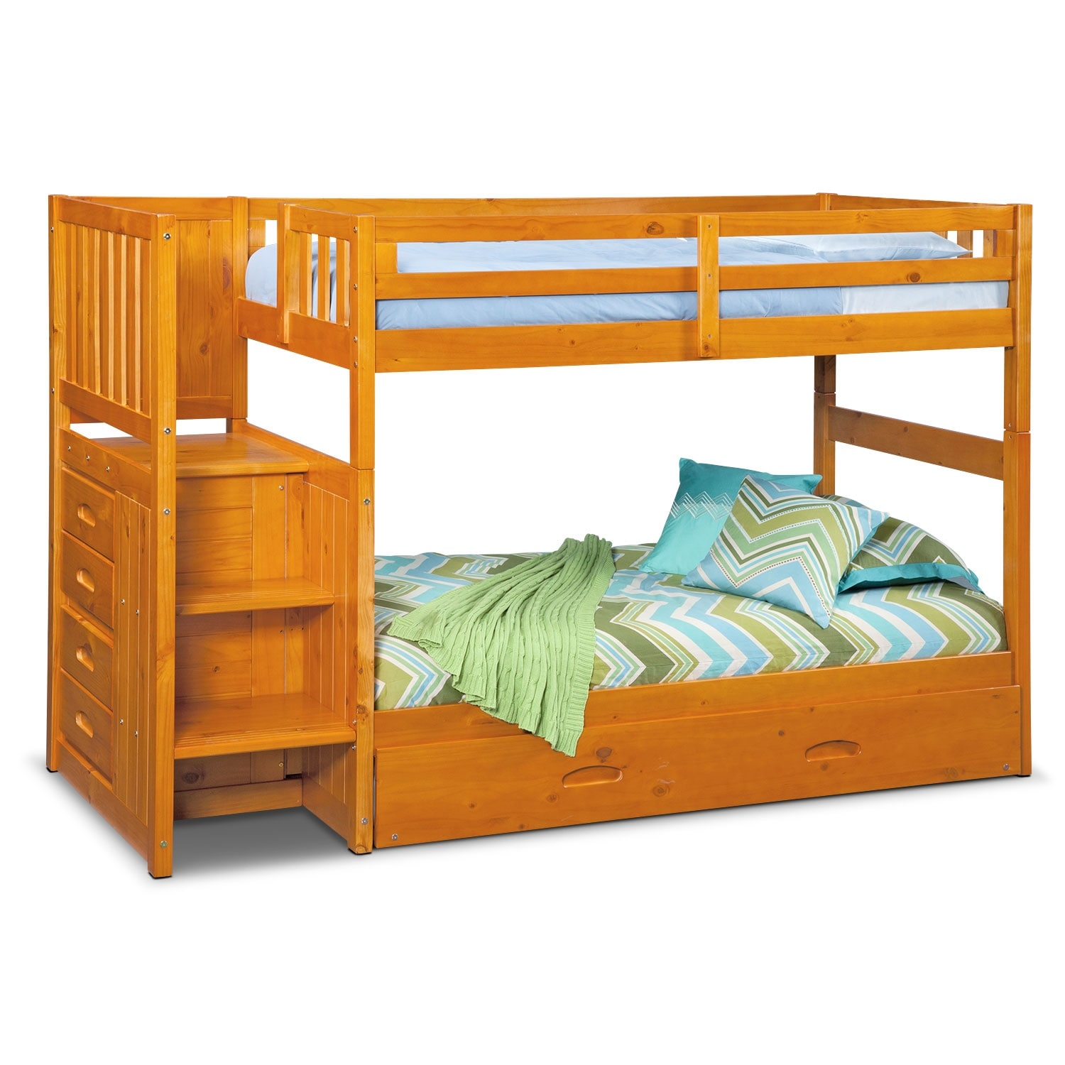 Kids Furniture - Ranger Twin over Twin Storage Bunk Bed with Stairs and Trundle - Pine