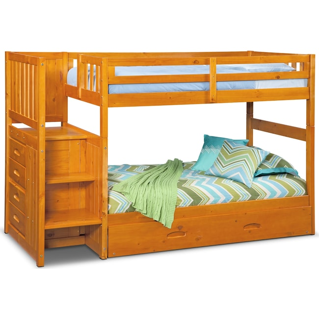 Kids Furniture - Ranger Twin over Twin Bunk Bed with Storage Stairs and Twin Trundle - Pine