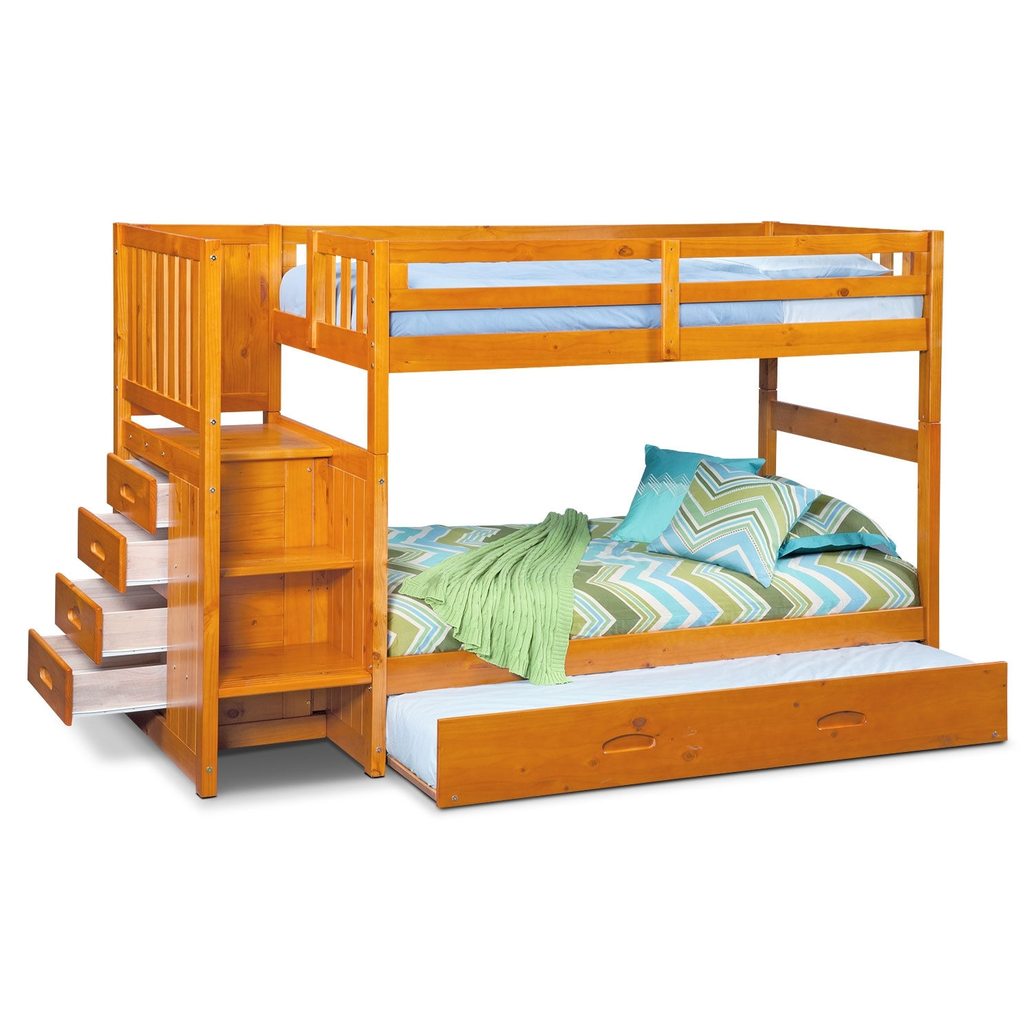 Ranger Twin Over Twin Bunk Bed With Storage Stairs And