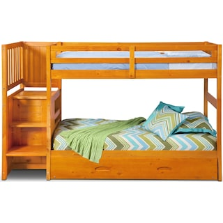 Ranger Twin over Twin Bunk Bed with Storage Stairs and Twin Trundle - Pine