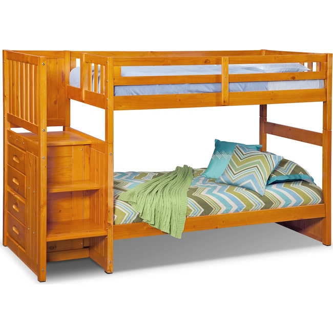 Ranger Twin Over Twin Bunk Bed With Storage Stairs Pine American