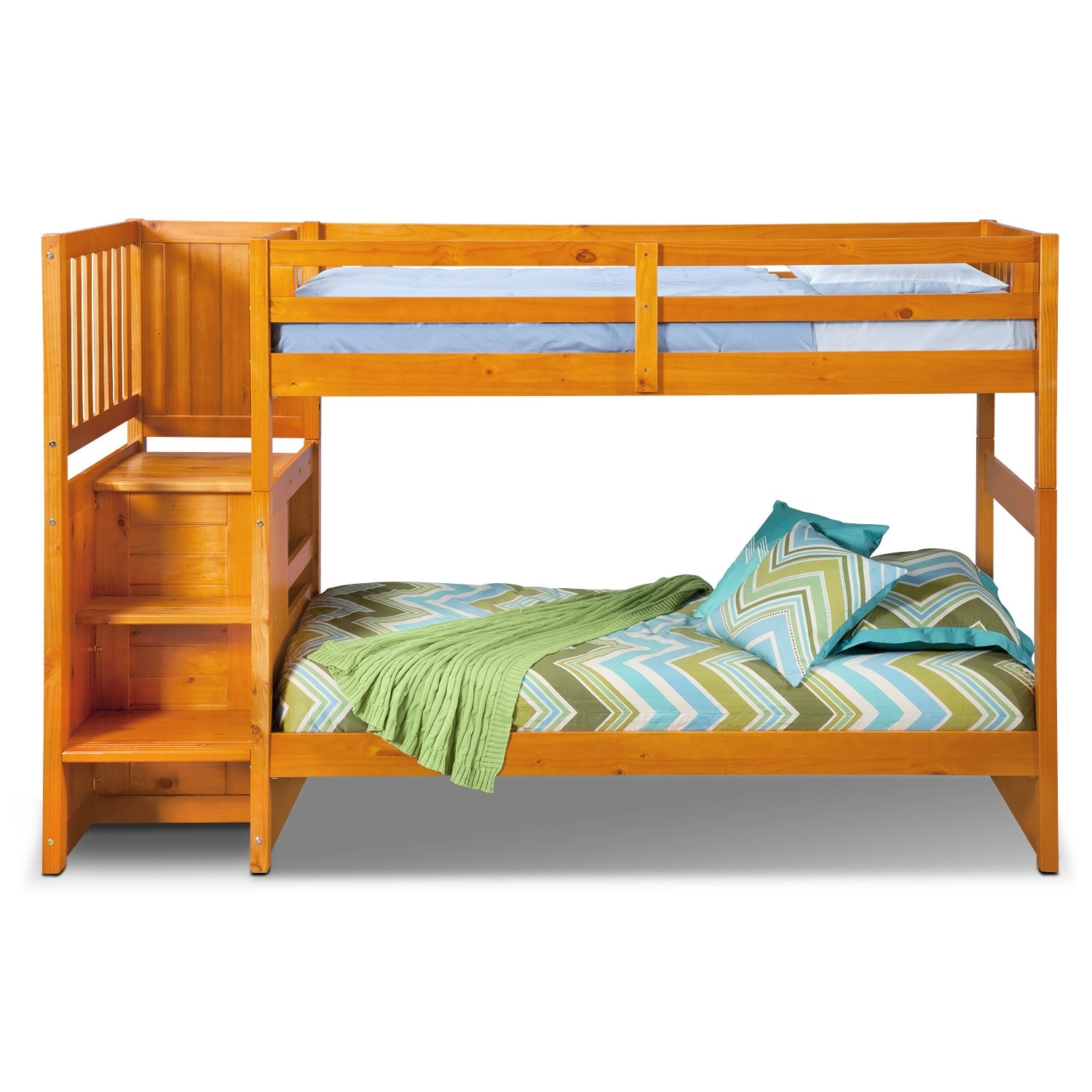 ranger twin over twin bunk bed with storage stairs pine american signature furniture. Black Bedroom Furniture Sets. Home Design Ideas