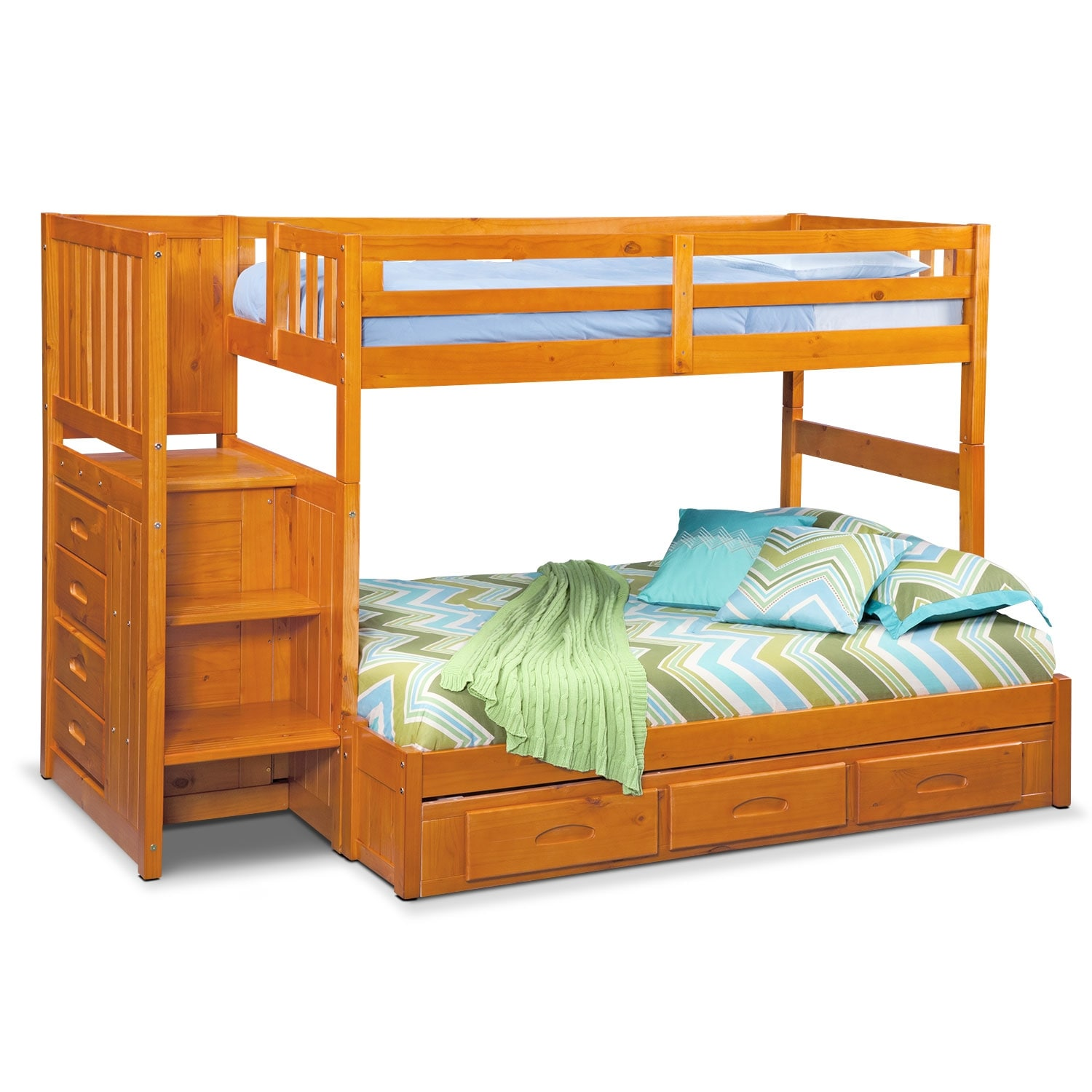 Kids Furniture - Ranger Twin over Full Bunk Bed with Storage Stairs & Underbed Drawers  - Pine