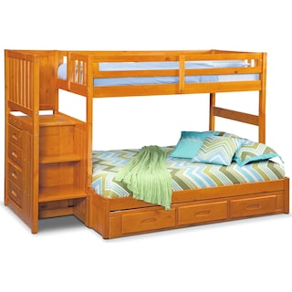 Ranger Twin over Full Bunk Bed with Storage Stairs & Underbed Drawers  - Pine