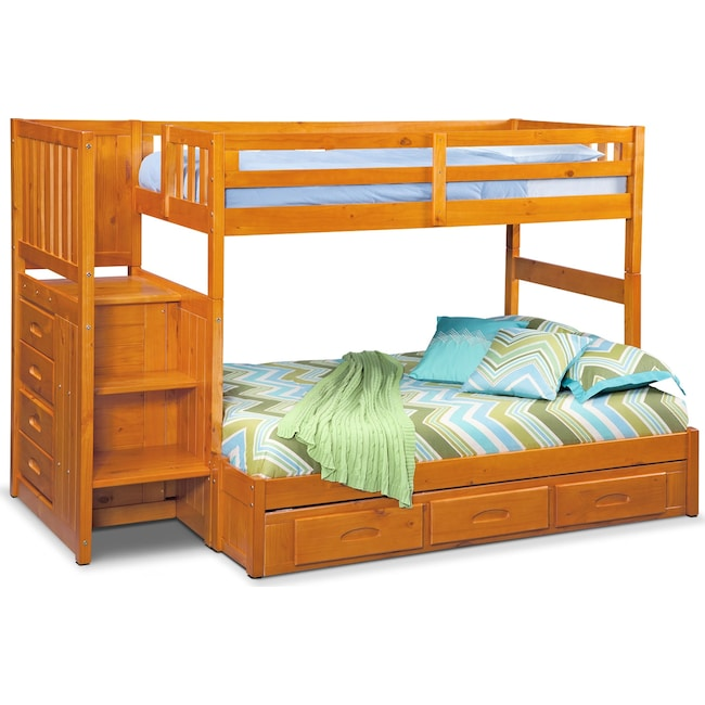 Kids Furniture Ranger Twin Over Full Bunk Bed With Storage Stairs Underbed Drawers