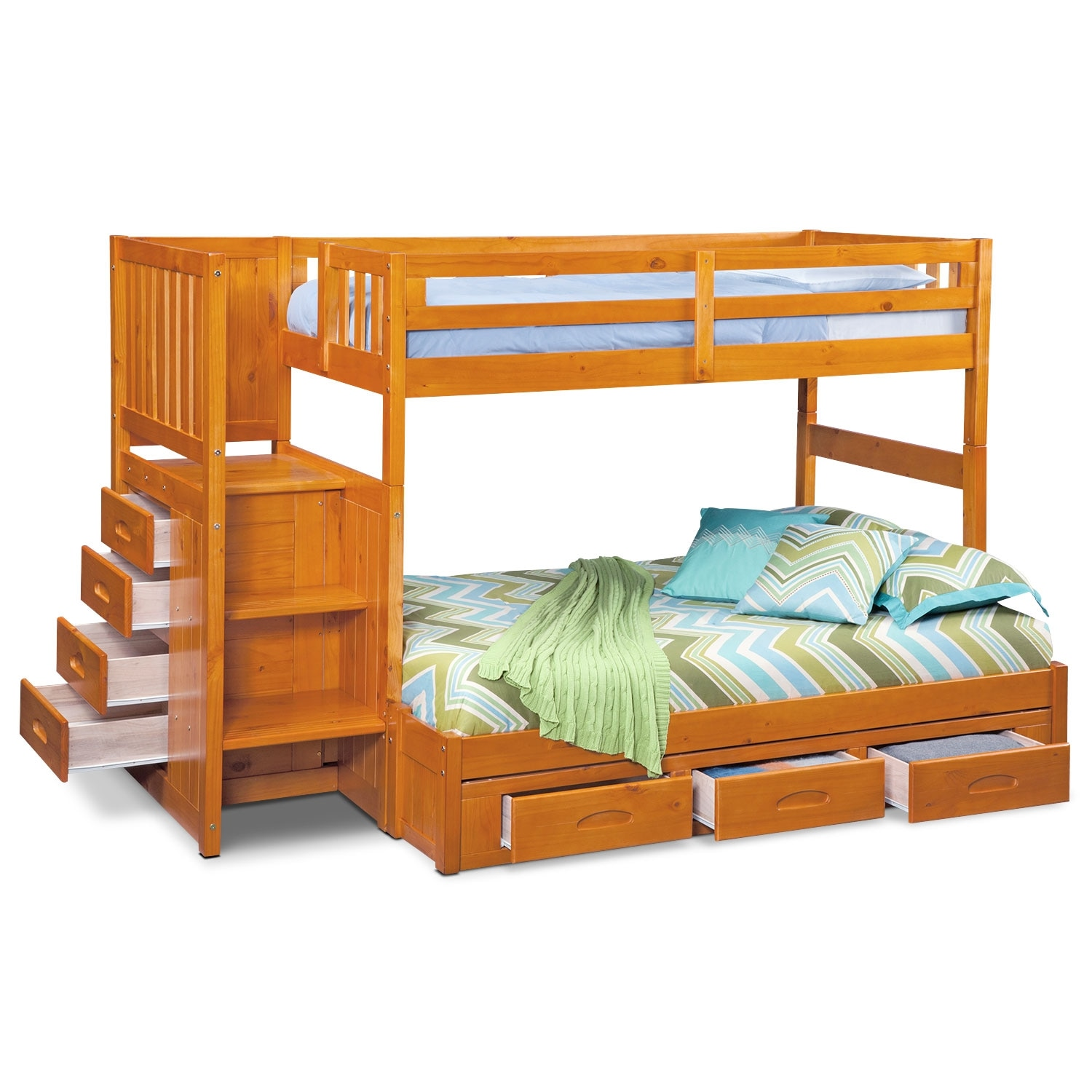 ranger twin over full bunk bed with storage stairs underbed drawers pine american. Black Bedroom Furniture Sets. Home Design Ideas