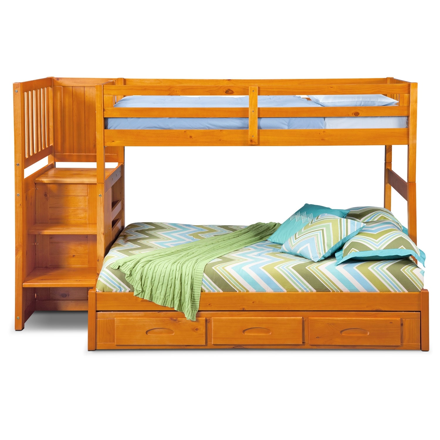 Bed Over Stair Box With Storage And Stairs: Ranger Twin Over Full Bunk Bed With Storage Stairs