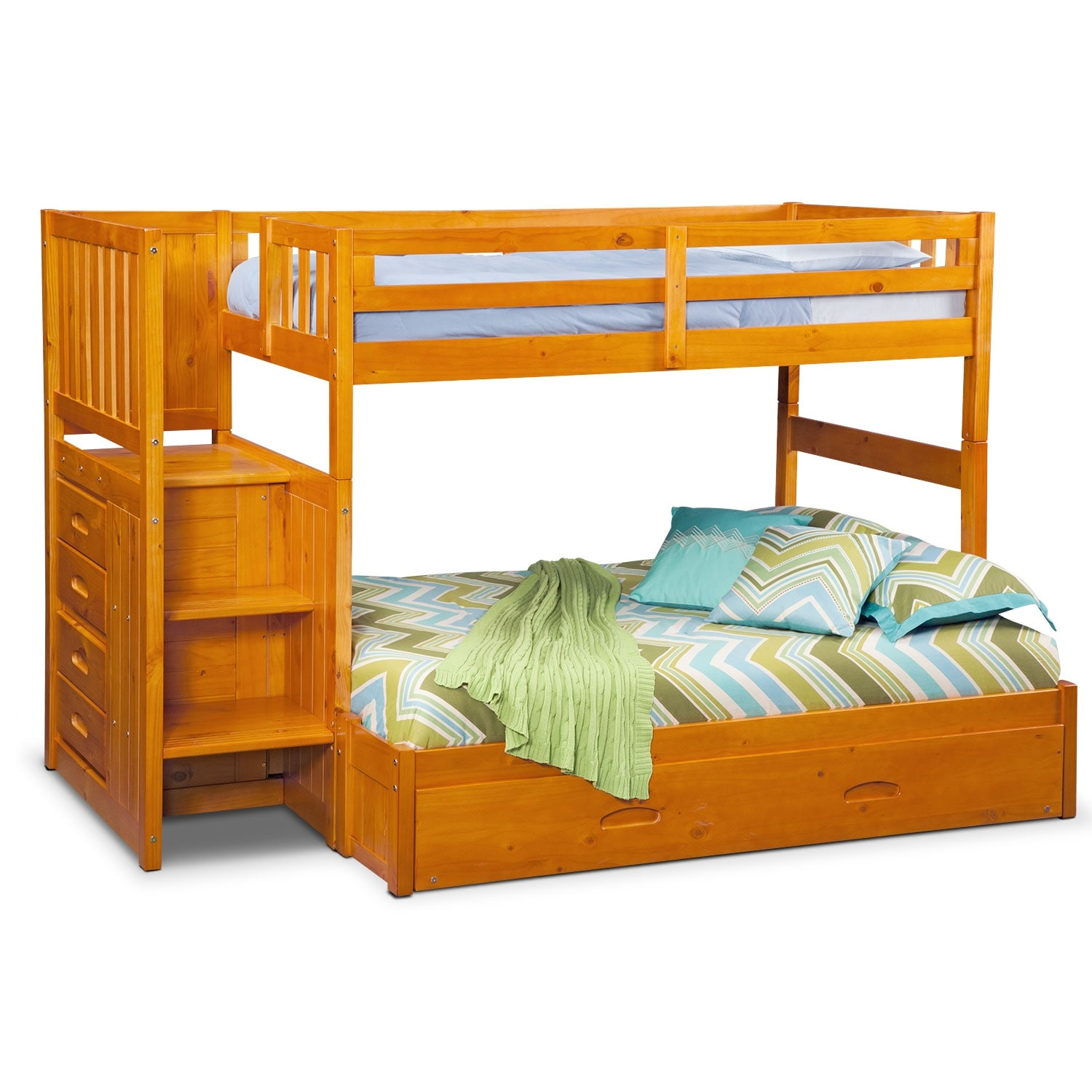 Kids Furniture - Ranger Twin over Full Bunk Bed with Storage Stairs and Twin Trundle
