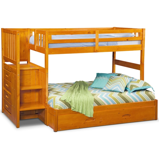 Kids Furniture - Ranger Twin over Full Bunk Bed with Storage Stairs and Twin Trundle - Pine