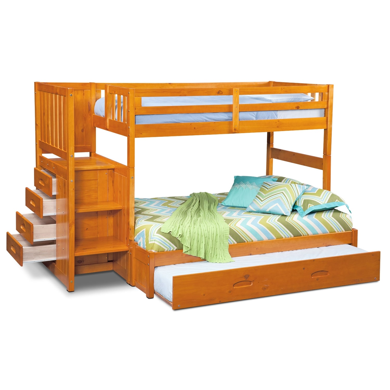 ranger twin over full bunk bed with storage stairs and twin trundle pine american signature. Black Bedroom Furniture Sets. Home Design Ideas