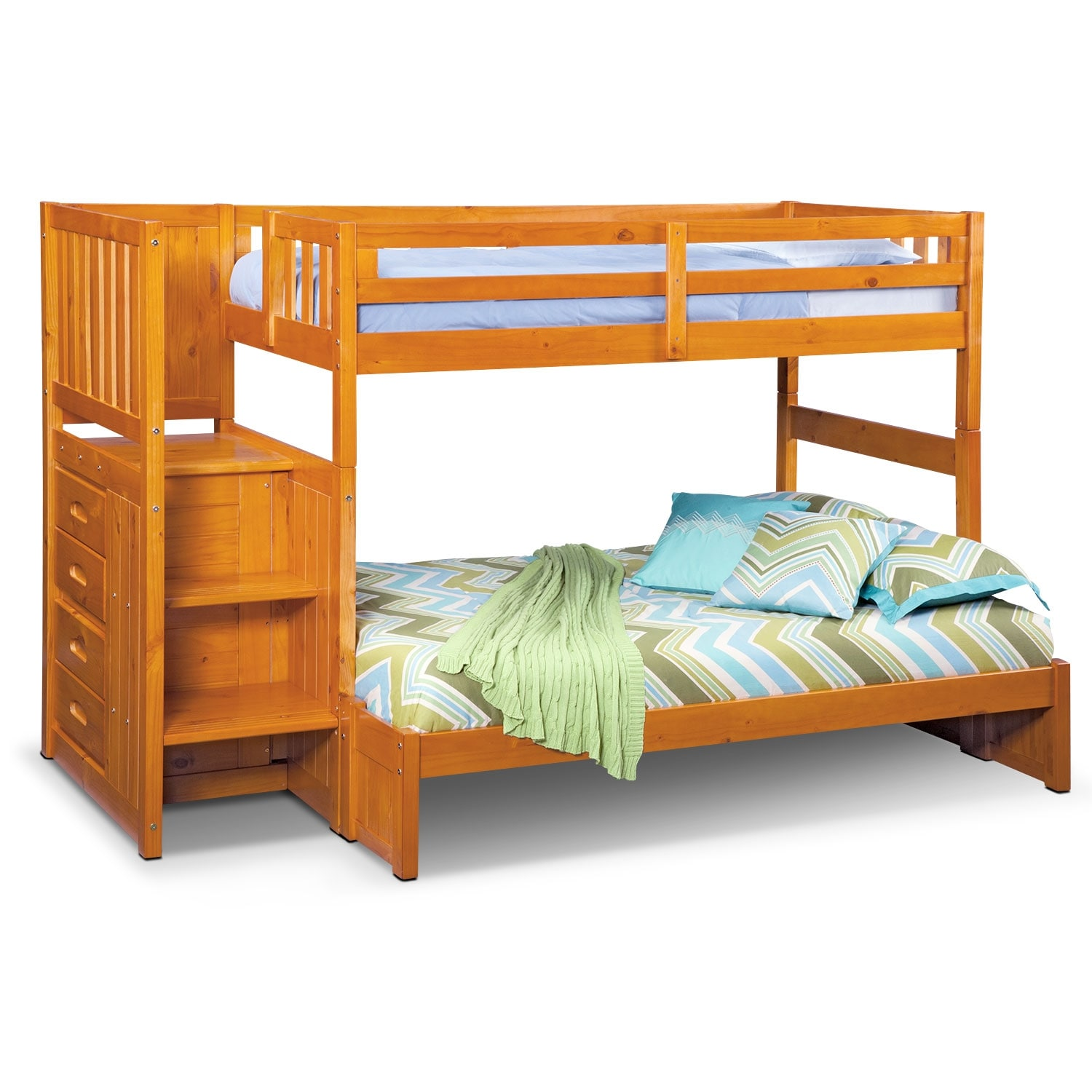 Ranger Twin Over Full Bunk Bed With Storage Stairs Pine