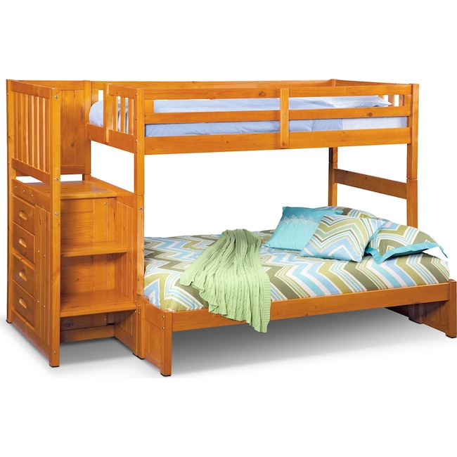 Kids Furniture - Ranger Twin over Full Bunk Bed with Storage Stairs - Pine