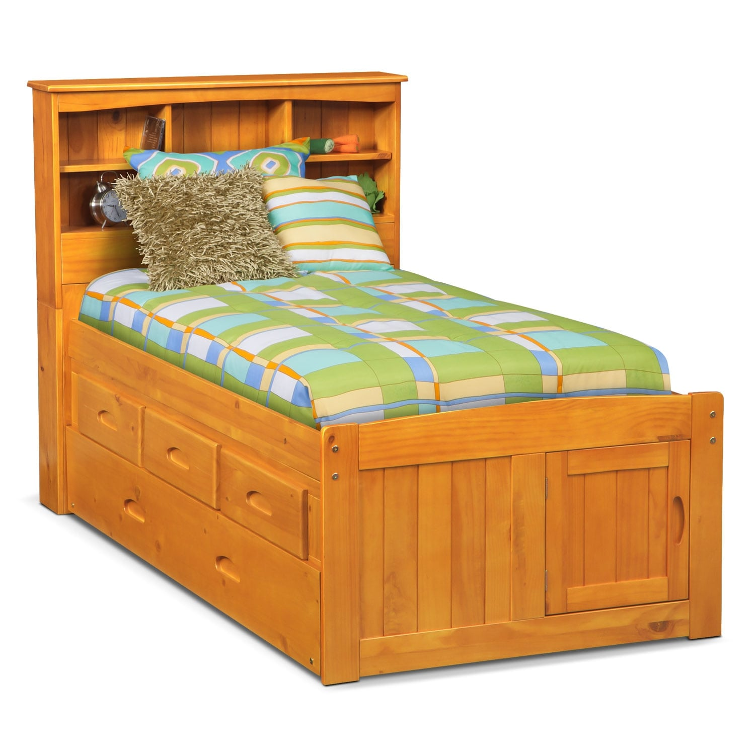 Kids Furniture - Ranger Twin Bookcase Bed with 3 Underbed Drawers and Trundle - Pine