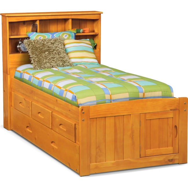 Kids Furniture - Ranger Twin Bookcase Bed with 3 Underbed Drawers and Twin Trundle - Pine