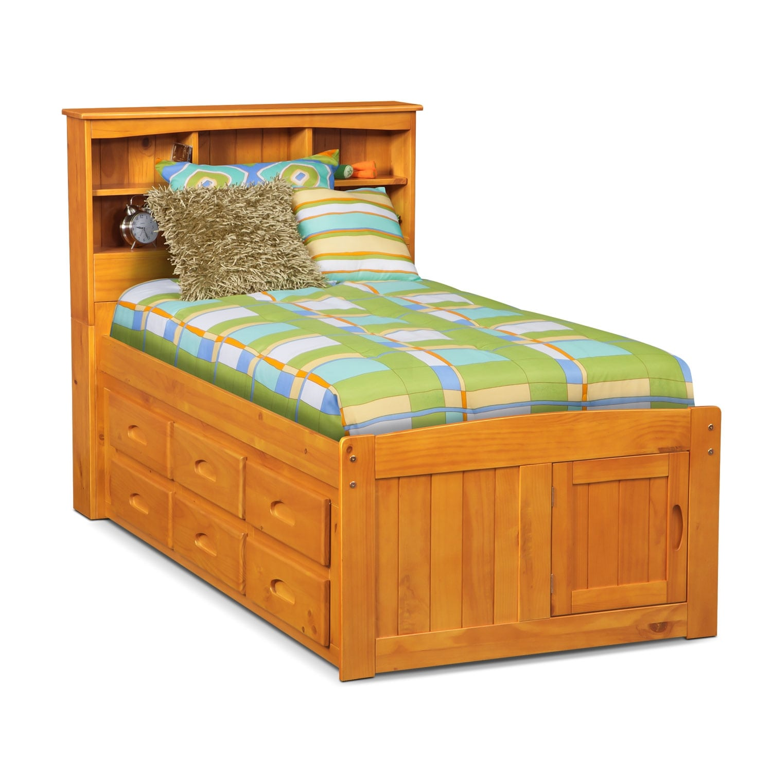 Ranger twin bookcase bed with 6 underbed drawers pine american signature furniture - Kids twin beds with storage drawers ...