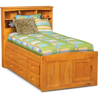 Ranger Full Bookcase Bed with 6 Underbed Drawers - Pine