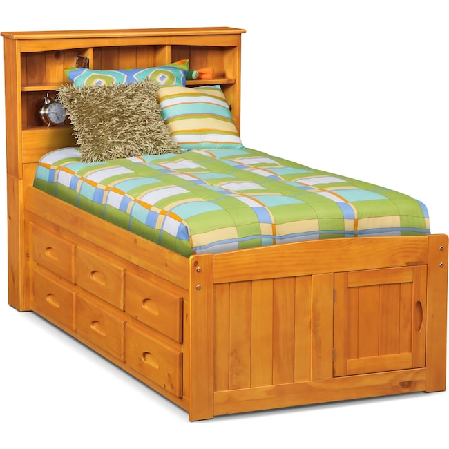 Kids Furniture - Ranger Bookcase Bed with 6 Underbed Drawers