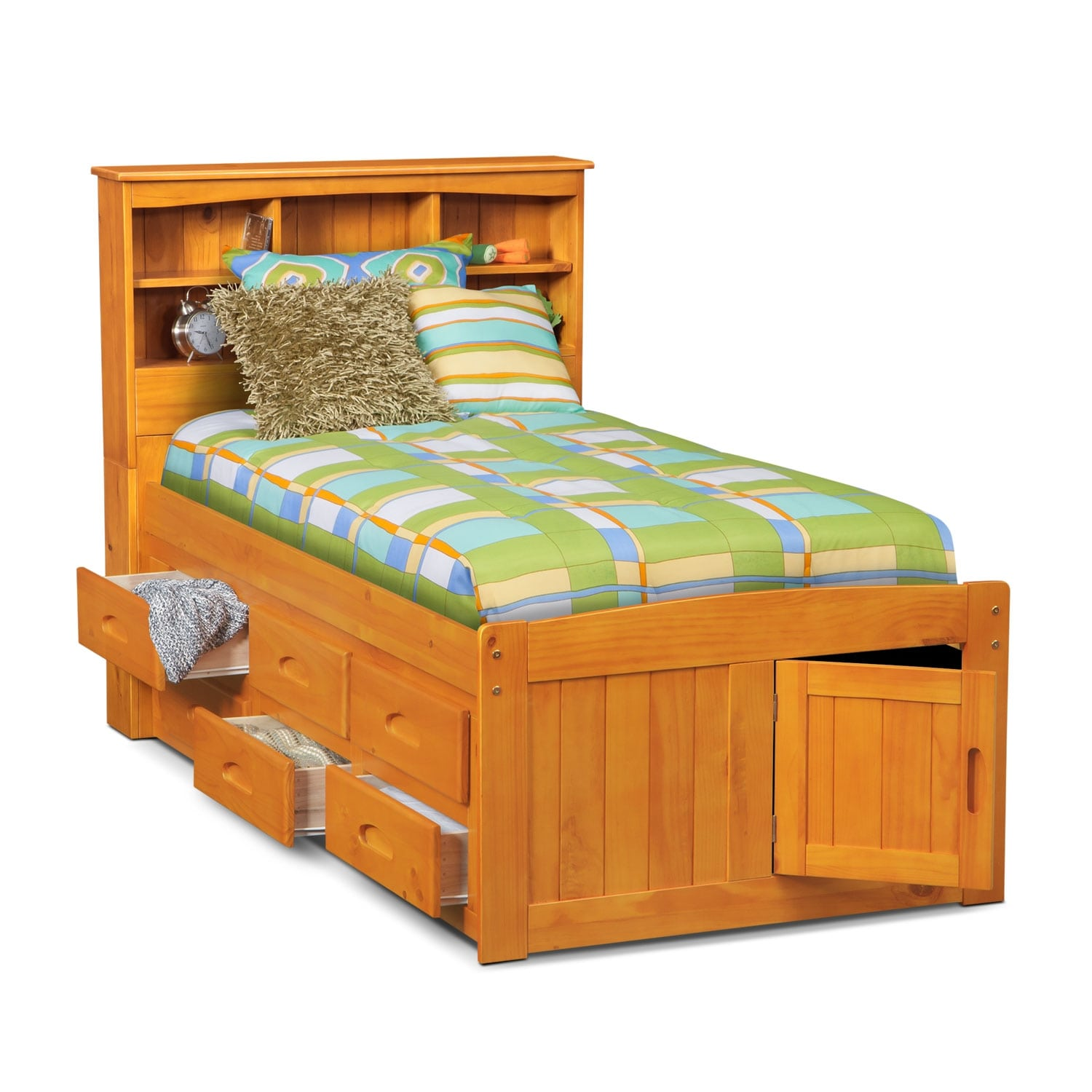 Ranger twin bookcase bed with 6 underbed drawers pine american signature furniture American home furniture bedroom sets