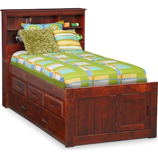Ranger Twin Bookcase Bed with 3 Underbed Drawers and Twin Trundle - Merlot
