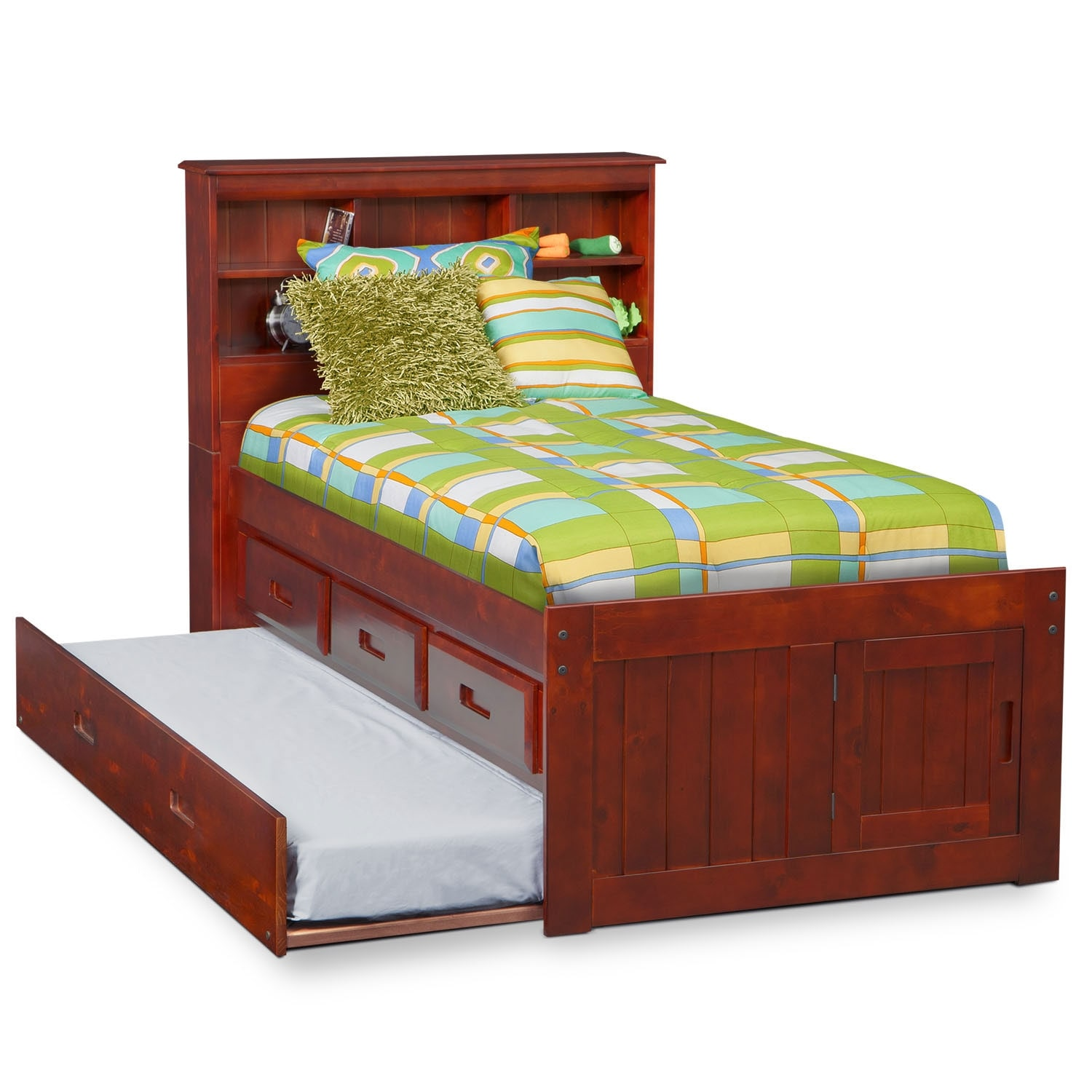 Ranger Full Bookcase Bed With  Underbed Drawers Merlot