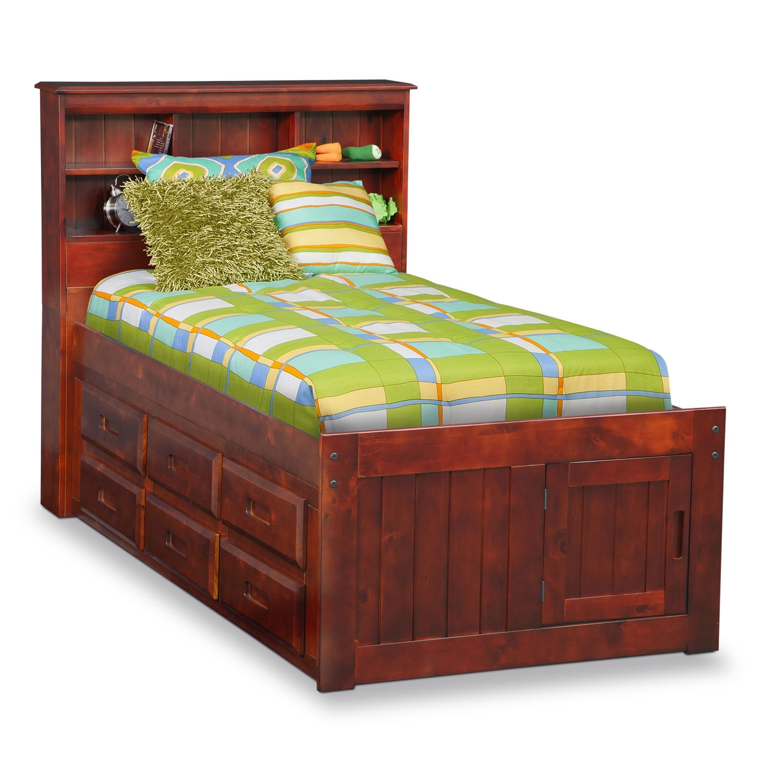 Kids Furniture - Ranger Full Bookcase Bed with 6 Underbed Drawers - Merlot