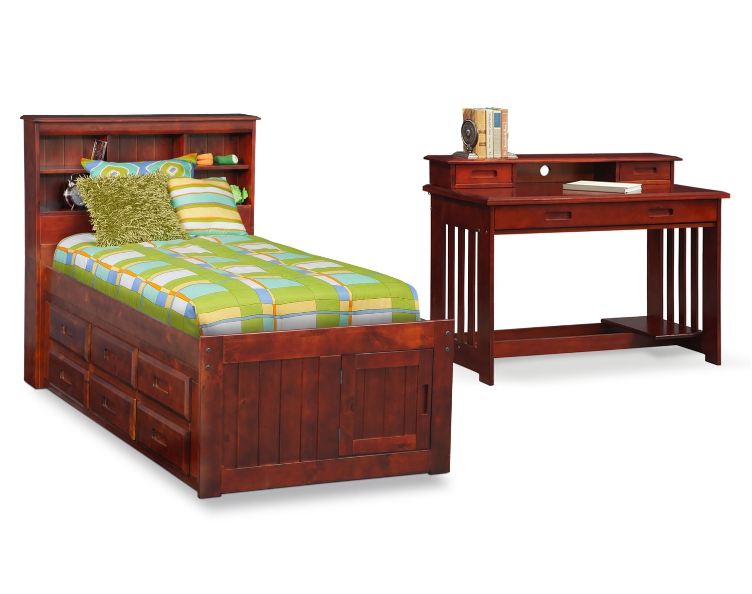 The Ranger Merlot Bookcase Bed Collection