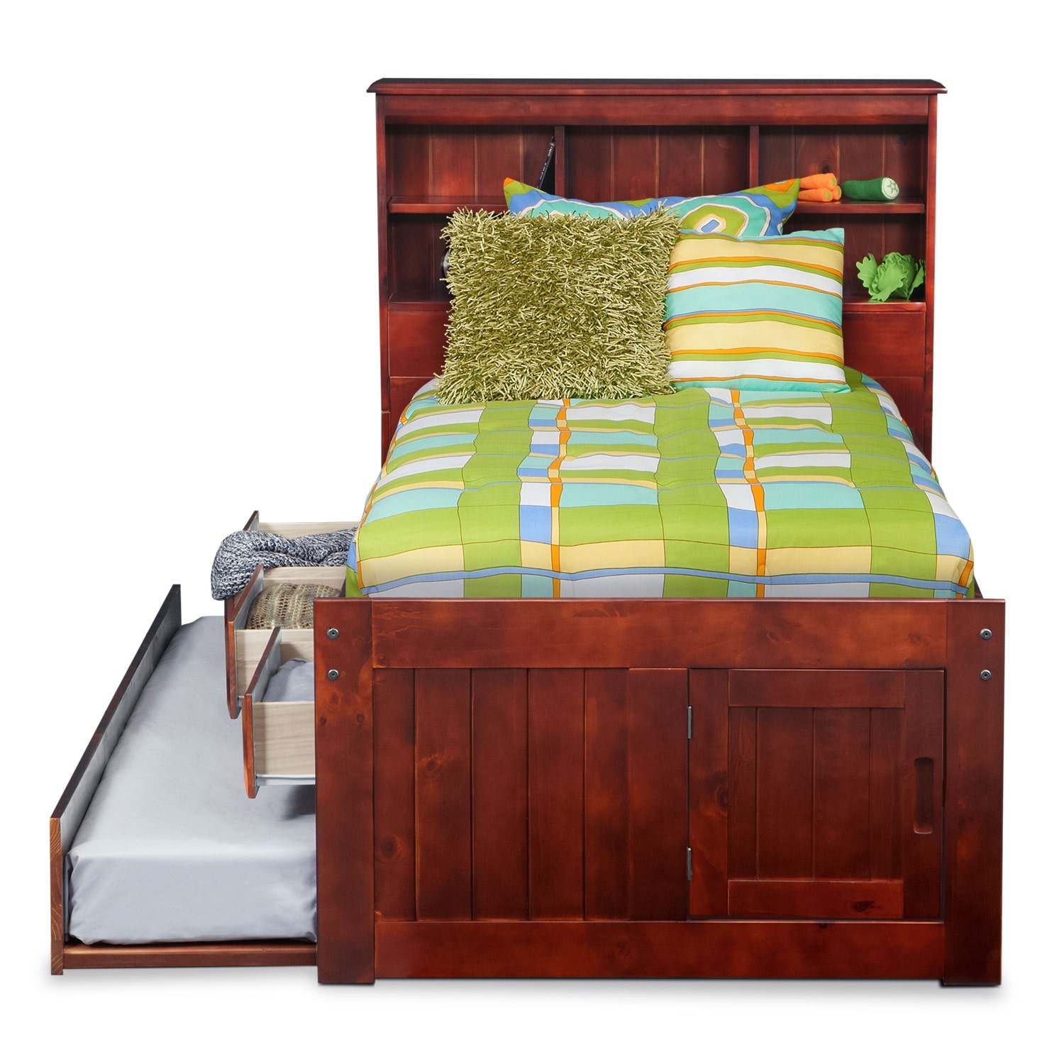 Ranger Full Bookcase Bed With 3 Underbed Drawers And Twin