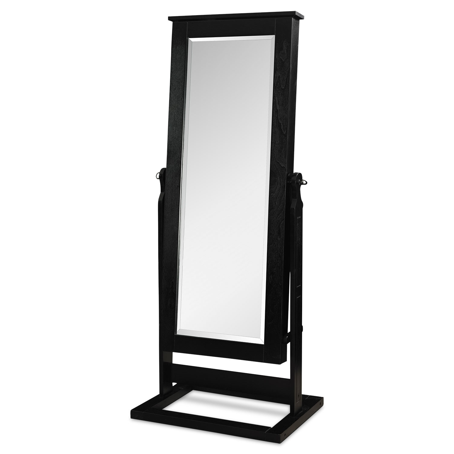 Bedroom Furniture - Perrie Cheval Storage Mirror - Black