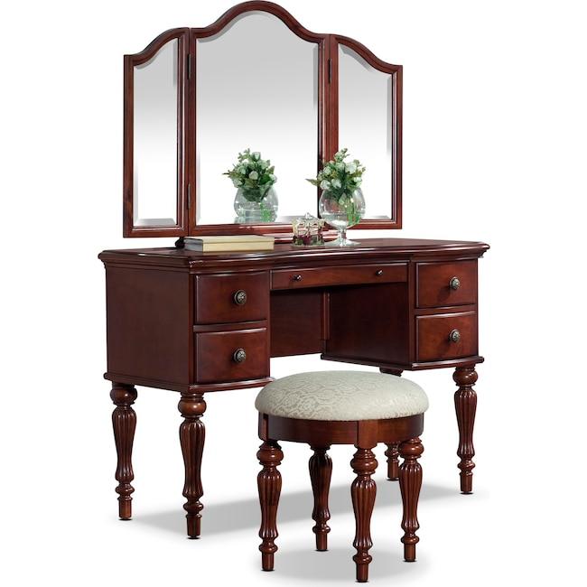 Bedroom Furniture - Sibley Vanity Set - Cherry