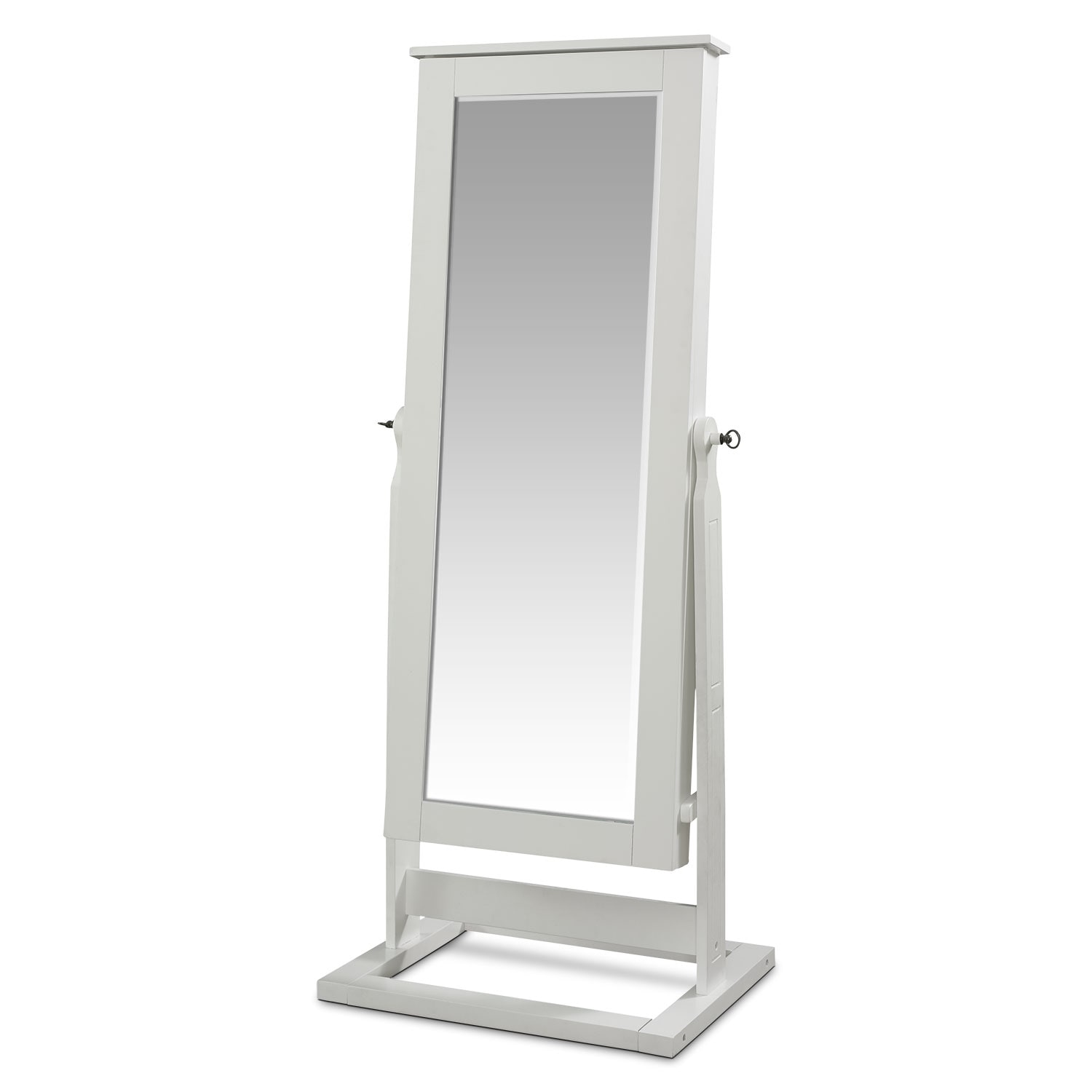 Bedroom Furniture - Perrie Cheval Storage Mirror - White