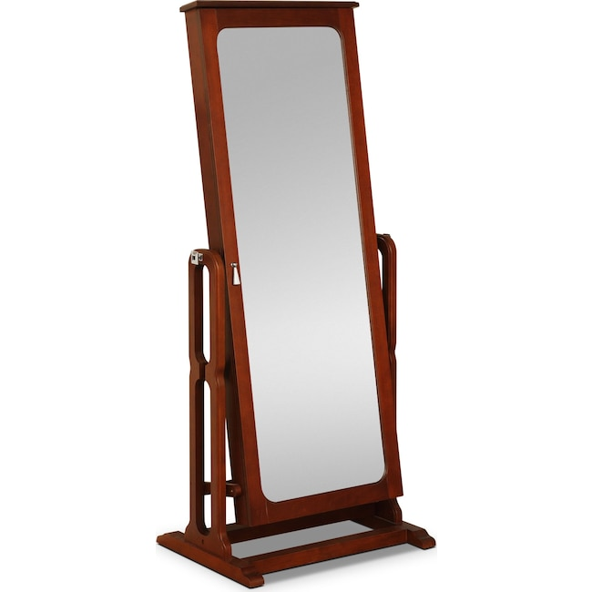 Accent and Occasional Furniture - Sadie Cheval Storage Mirror - Cherry