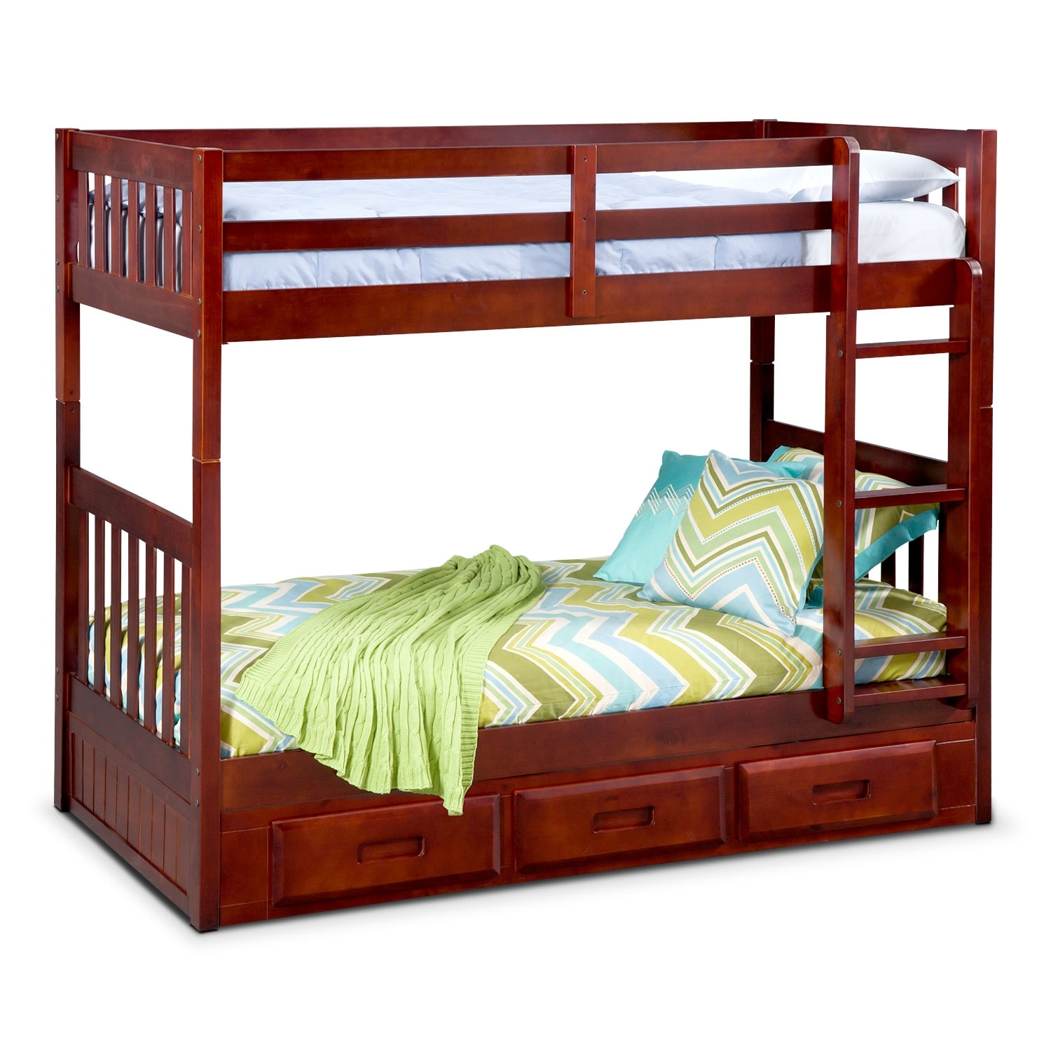 Ranger Twin over Twin Storage Bunk Bed - Merlot