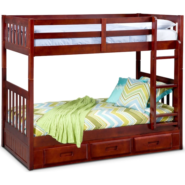 Kids Furniture - Ranger Twin over Twin Storage Bunk Bed - Merlot