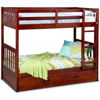 Ranger Twin over Twin Bunk Bed with Trundle - Merlot