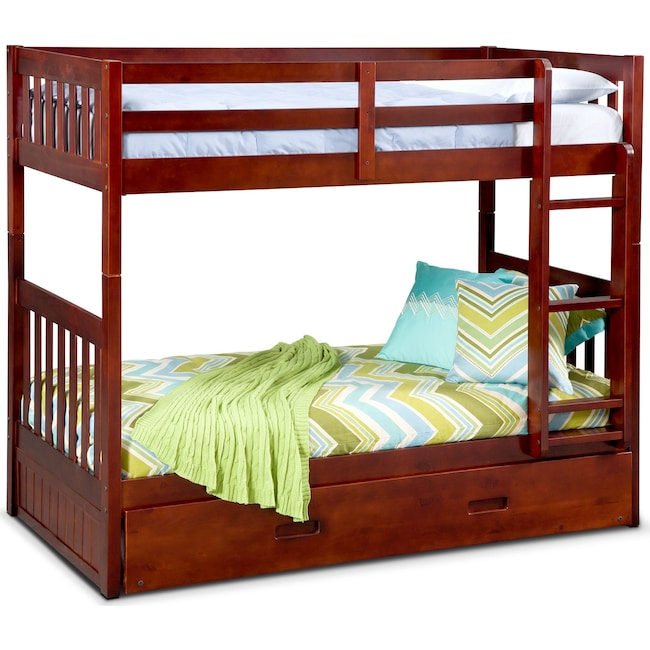 Ranger Twin Over Twin Bunk Bed With Twin Trundle Merlot American