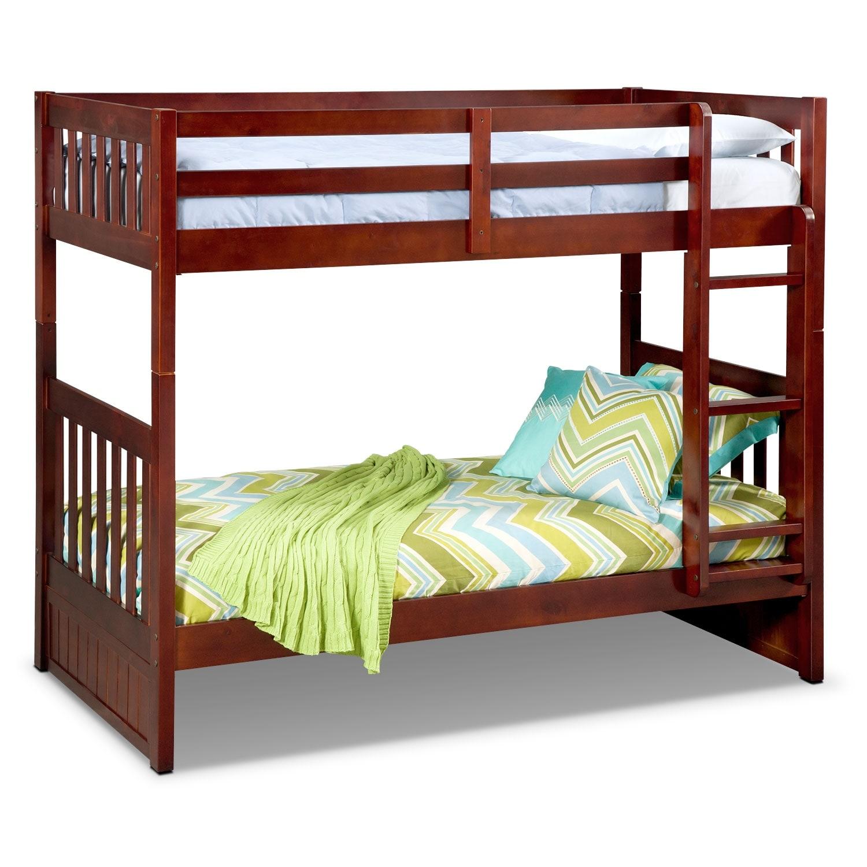 Kids Furniture - Ranger Merlot Twin/Twin Bunk Bed