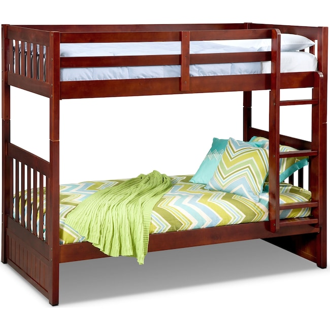 Kids Furniture - Ranger Twin over Twin Bunk Bed - Merlot
