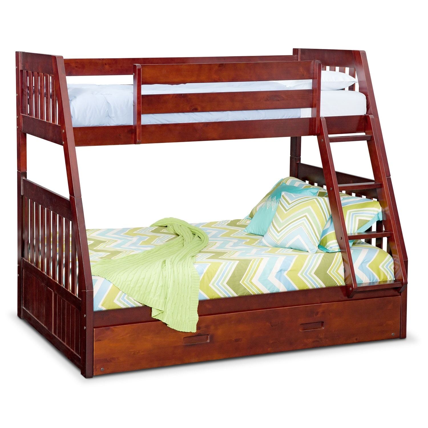 Kids Furniture - Ranger Merlot Twin/Full Bunk Bed with Trundle