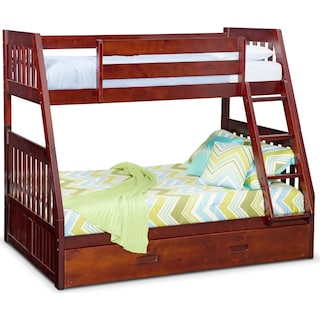 Ranger Twin over Full Bunk Bed with Trundle - Merlot