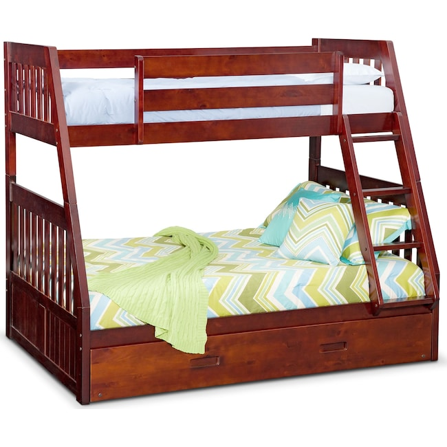 Kids Furniture - Ranger Twin over Full Bunk Bed with Twin Trundle