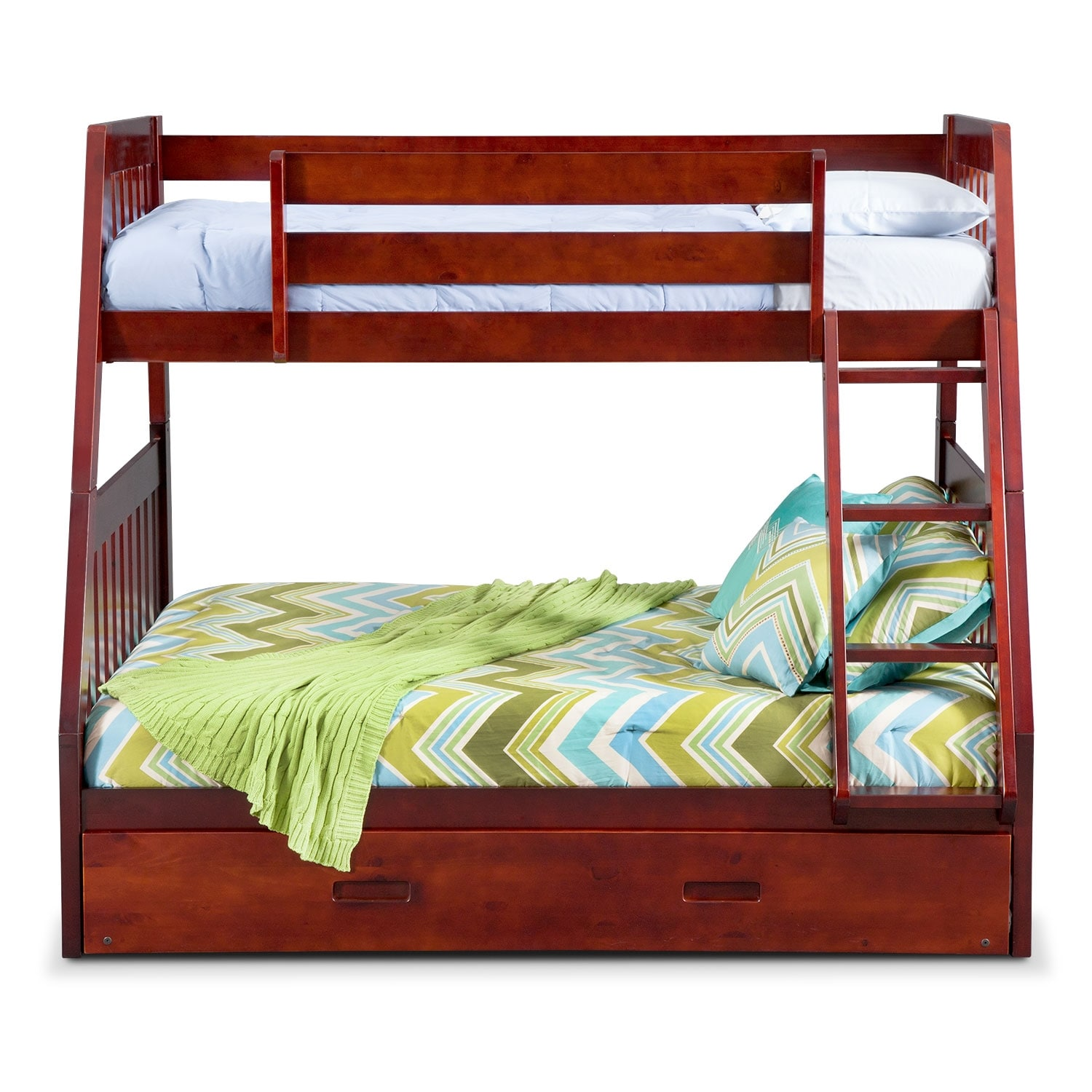 Ranger Twin Over Full Bunk Bed With Trundle Merlot