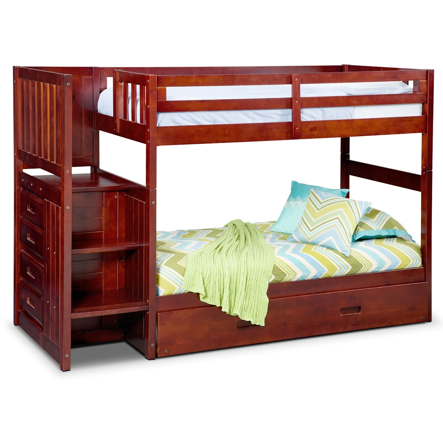 Kids Furniture - Ranger Merlot Twin/Twin Bunk Bed with Stairs, Storage and Trundle
