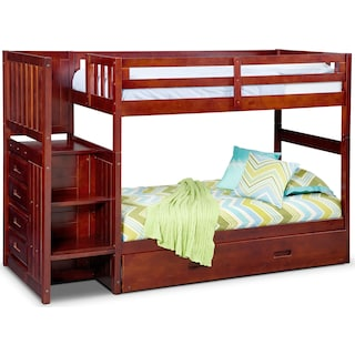 Ranger Twin over Twin Bunk Bed with Storage Stairs and Twin Trundle - Merlot