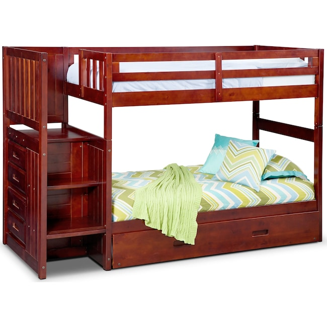 Kids Furniture Ranger Twin Over Bunk Bed With Storage Stairs And Trundle