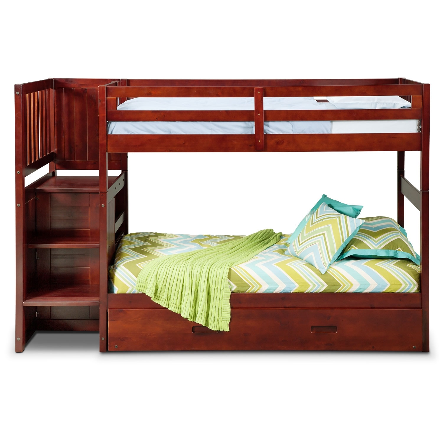 ranger twin over twin bunk bed with storage stairs and twin trundle merlot american. Black Bedroom Furniture Sets. Home Design Ideas