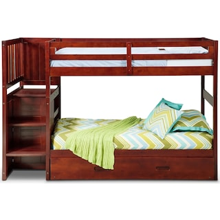 Ranger Twin over Twin Bunk Bed with Storage Stairs and Twin Trundle