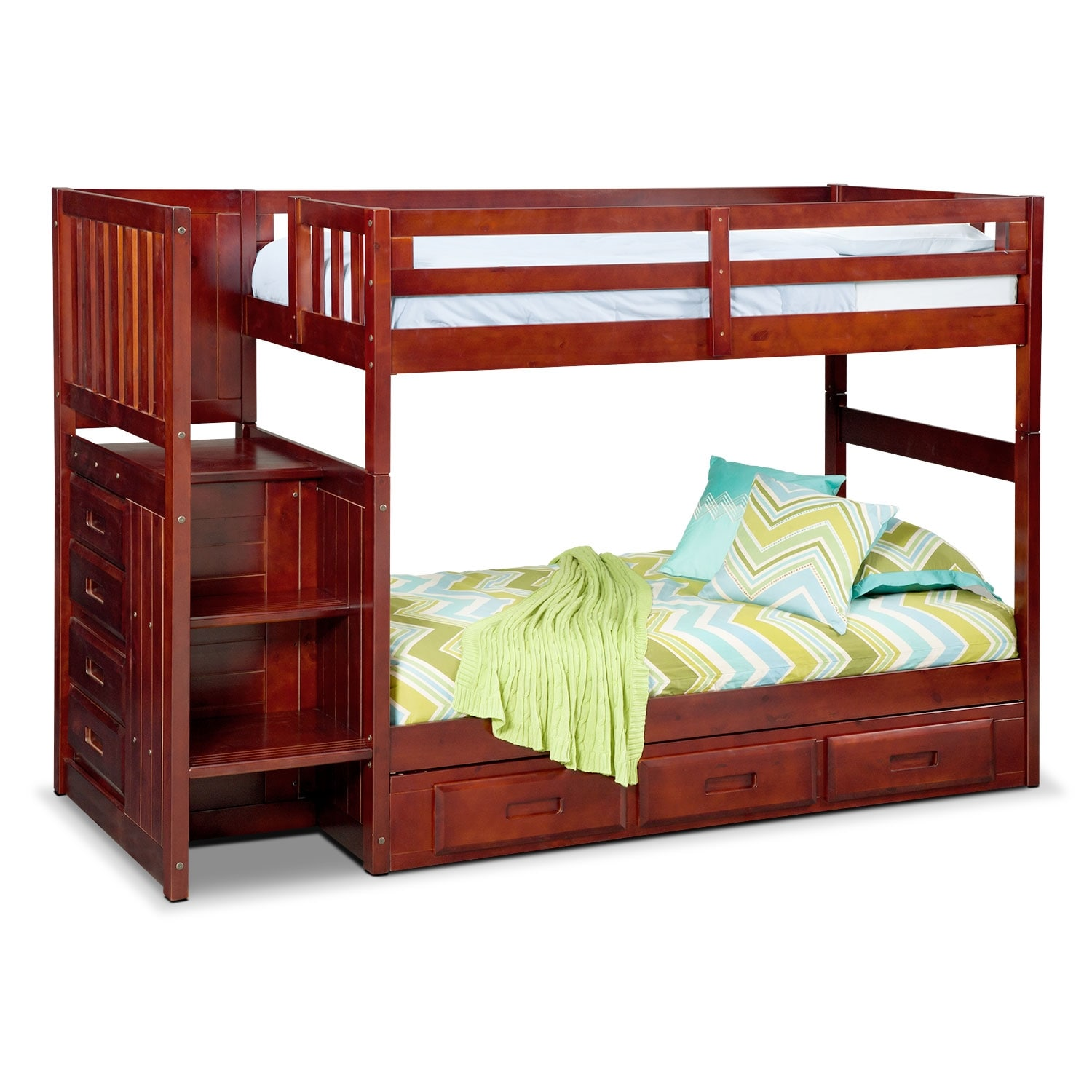 Ranger twin over twin bunk bed with storage stairs underbed drawers merlot american - Bunkbeds with drawers ...