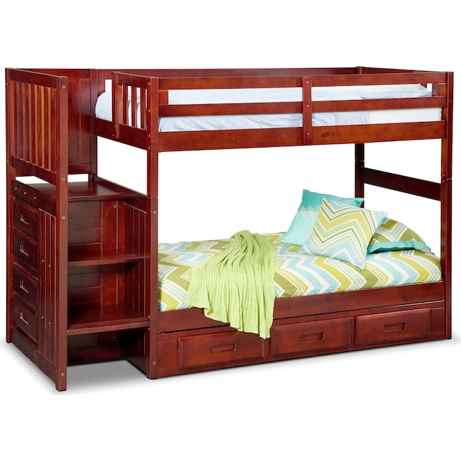 Kids Furniture - Ranger Twin over Twin Bunk Bed with Storage Stairs & Underbed Drawers - Merlot