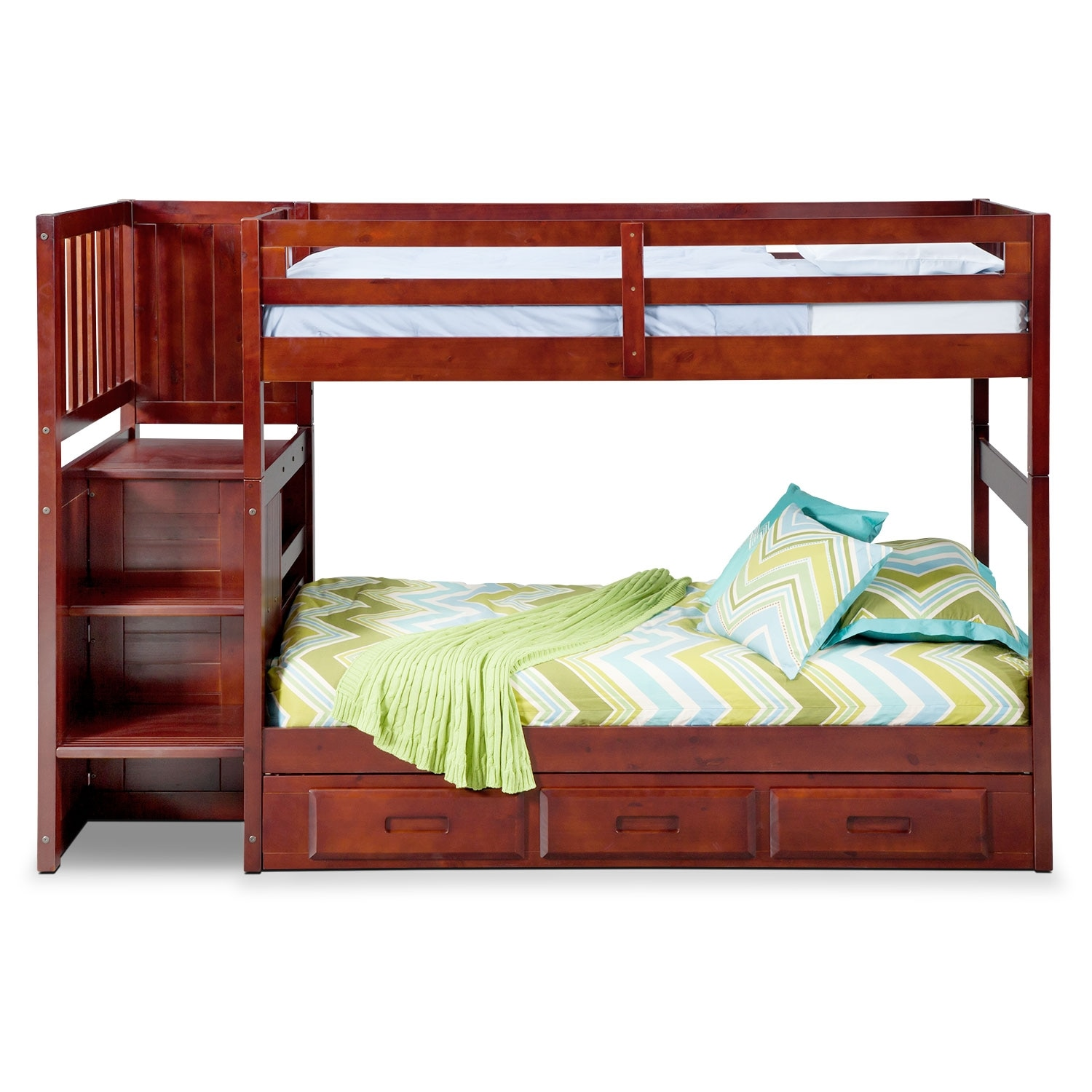 Ranger twin over twin bunk bed with storage stairs underbed drawers merlot american - Bunk bed with drawer steps ...